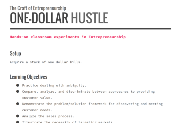 Product Image for the One-Dollar Hustle product
